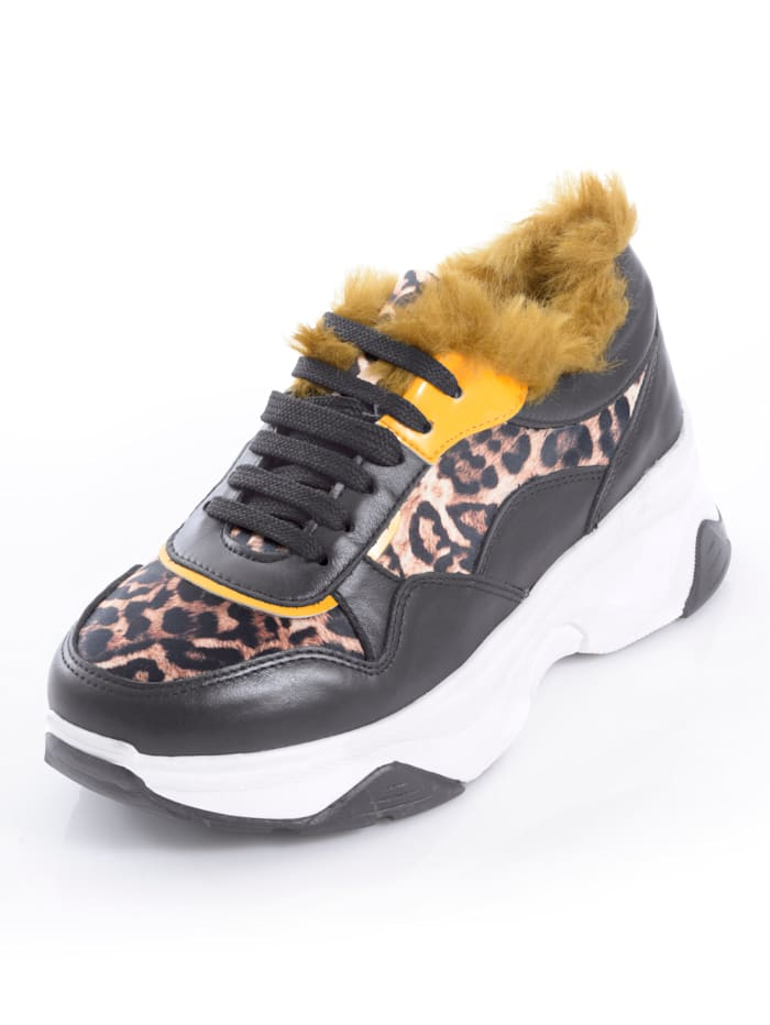 Alba Moda Sneaker mit Leoparden-Print-Einsätzen, Schwarz/Braun