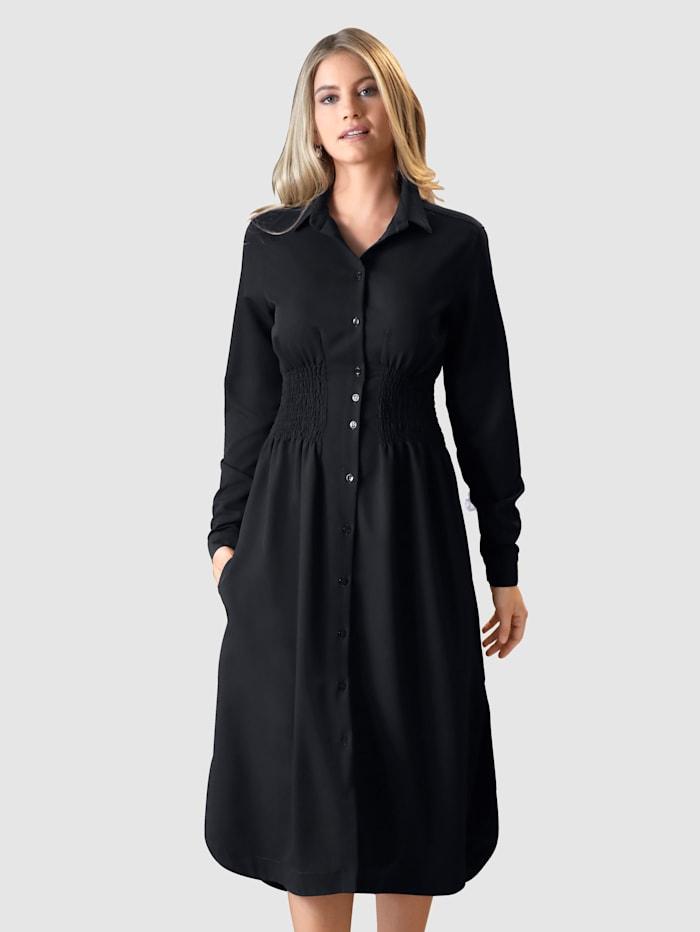 AMY VERMONT Kleid mit breitem Smokeinsatz in der Taille, Marineblau