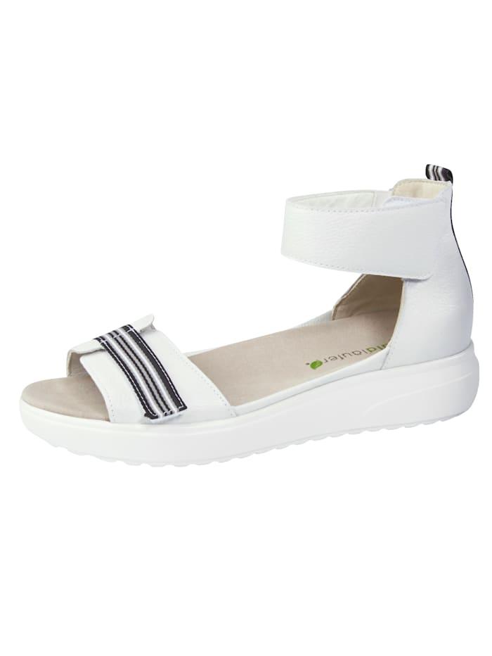 Waldläufer Sandales avec semelle de marche à coussin d'air, Blanc
