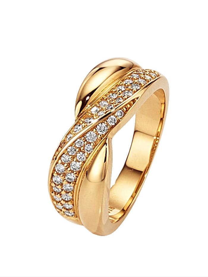 Diemer Diamant Damenring mit 40 Brillanten, Gelb