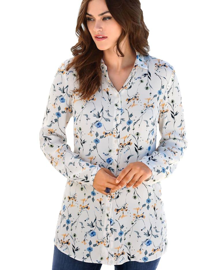 Emilia Lay Long-Bluse mit Hemdkragen, ecru/multi colour