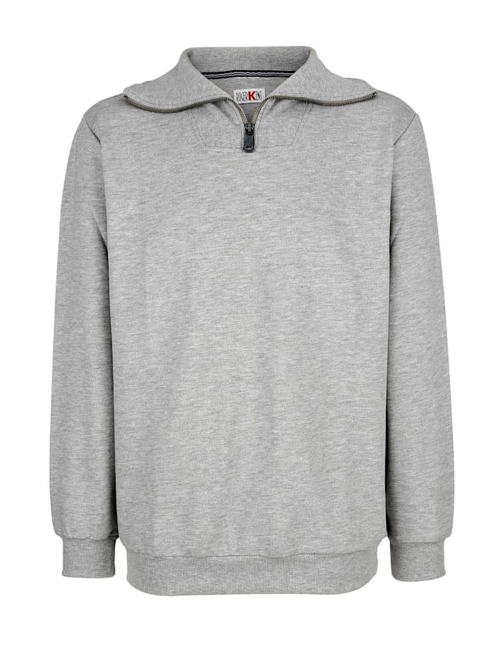 Roger Kent Sweatshirt med ribbstickad krage, Silvergrå