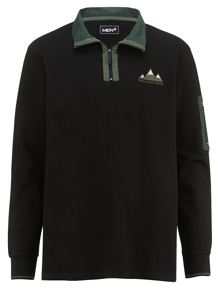 Men Plus Sweatshirt met platte kraag, Zwart/Donkergroen