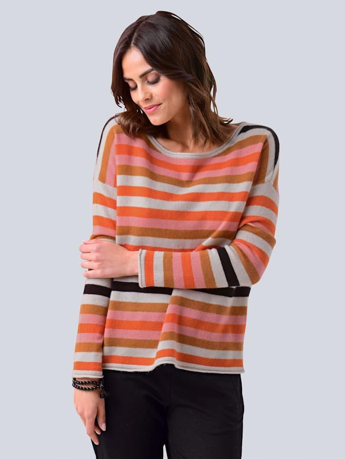 Alba Moda Pullover im exklusiven Streifenmuster, Orange/Rosé/Schwarz