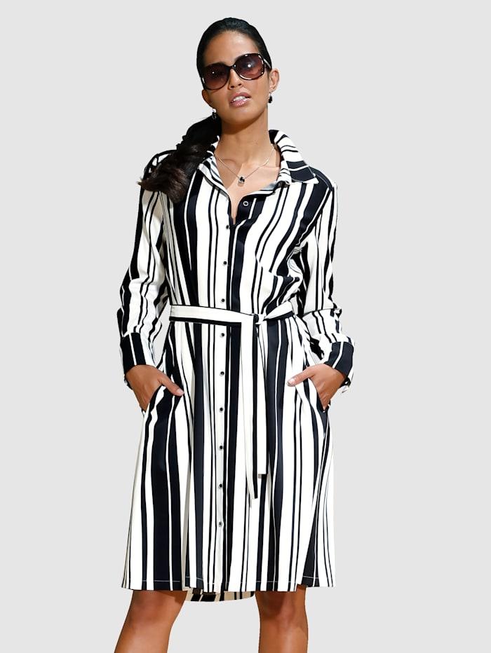AMY VERMONT Kleid aus hochwertiger Ware und modischem Streifendruck, Schwarz/Off-white