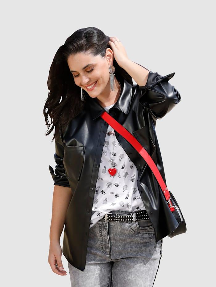 MIAMODA Blúzkový kabátik z mäkkej imitácie kože, Čierna