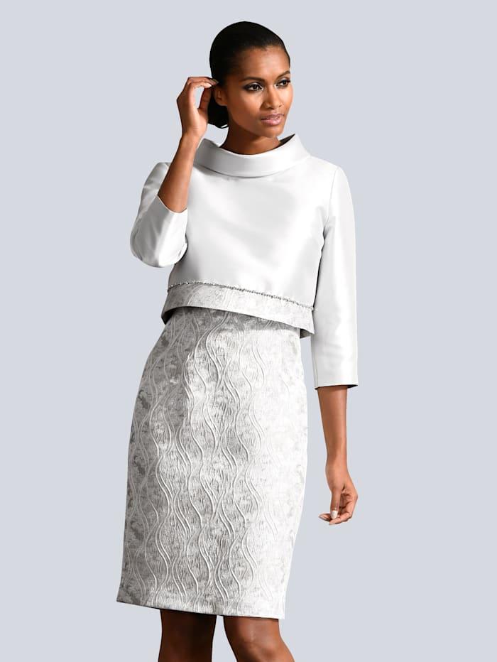 Alba Moda Kleid und Jacke in elegantem, floralem Muster, Grau