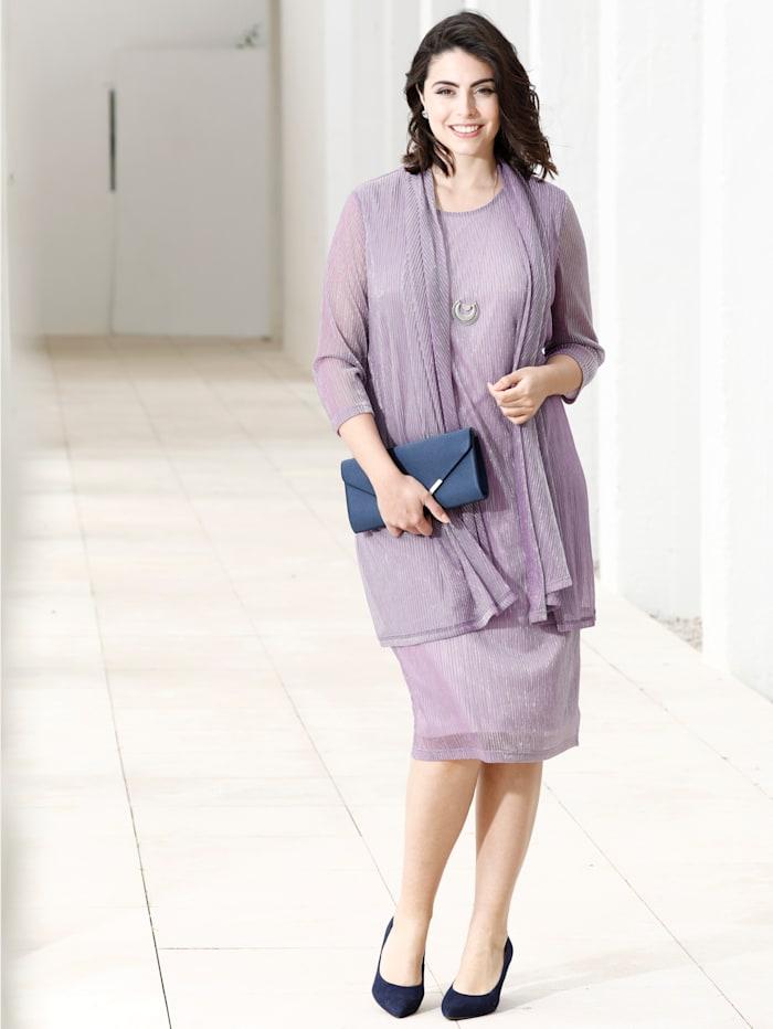 m. collection Kleid mit 2-in-1 Optik, Flieder