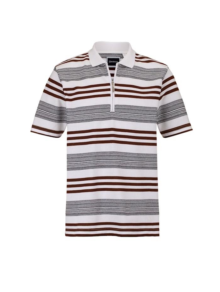 BABISTA Poloshirt met bijzondere wafelstructuur, Wit/Bruin