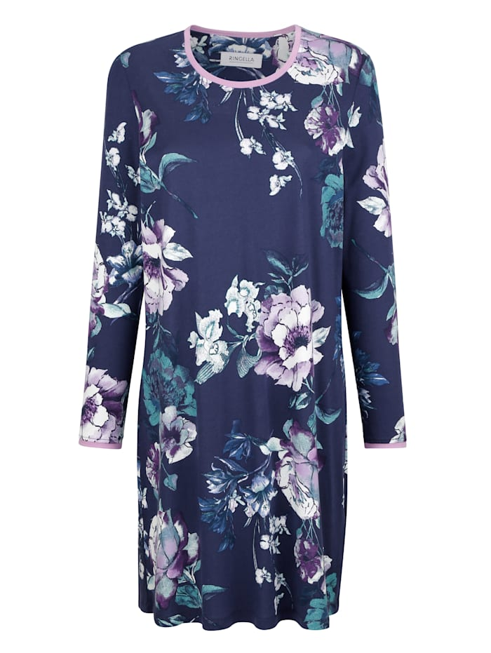 Nachthemd mit floralem Druck, Nachtblau/Flieder/Jade