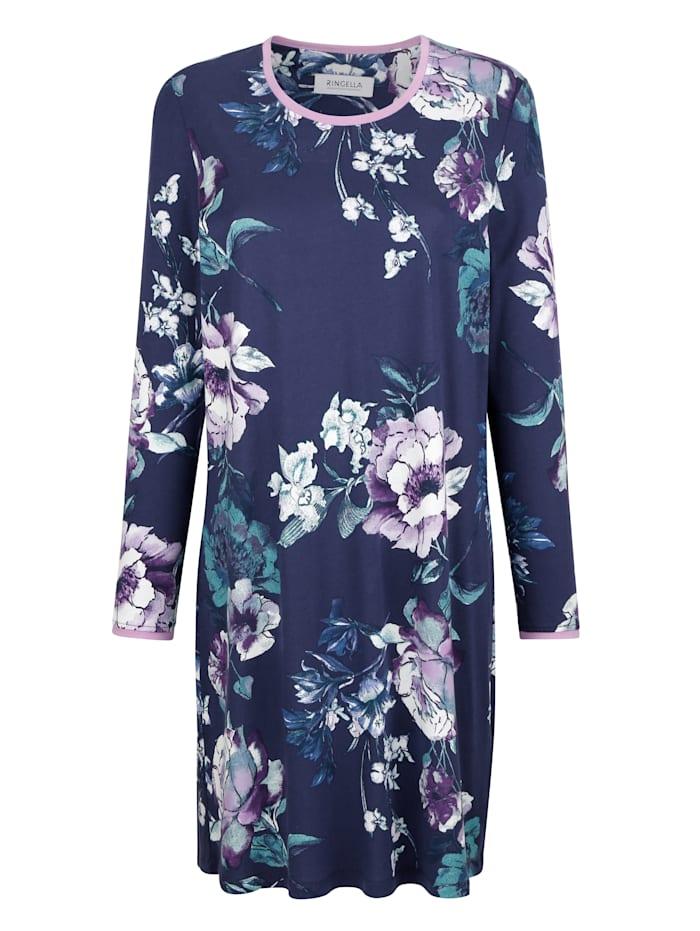 Nachthemd met bloemendessin, Nachtblauw/Lila/Jadegroen