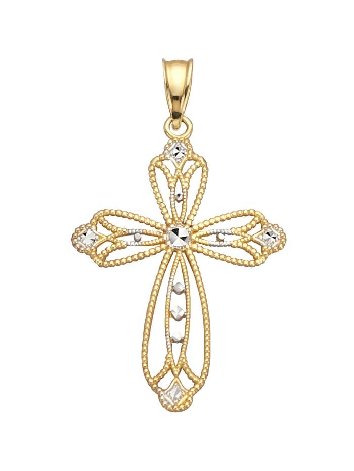 Kreuz-Anhänger mit Diamant, Gelbgoldfarben