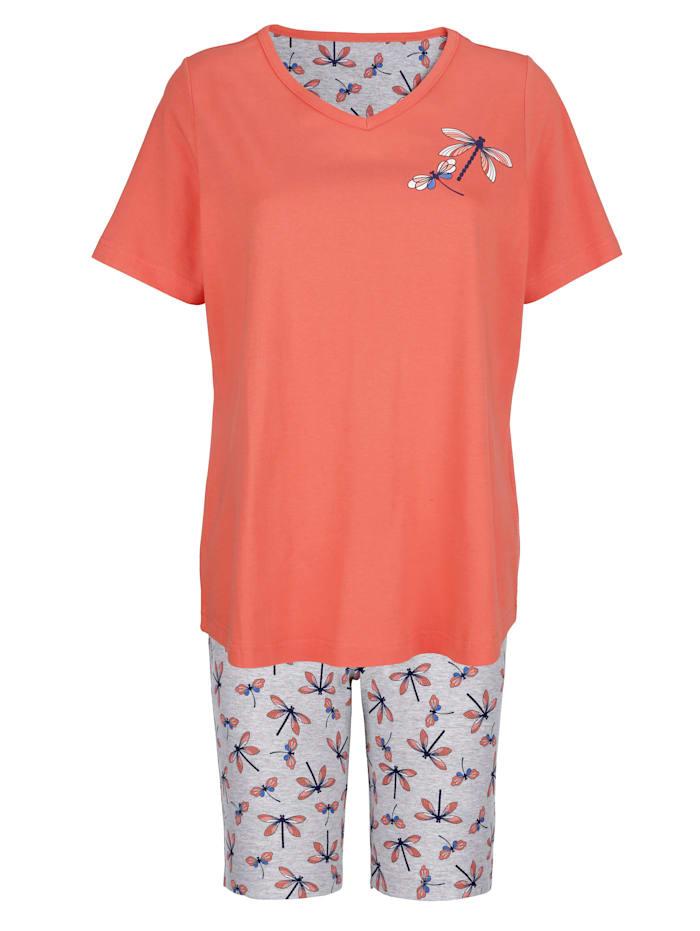 Blue Moon Pyjama met mooie knoopsluiting, Koraal/Grijs