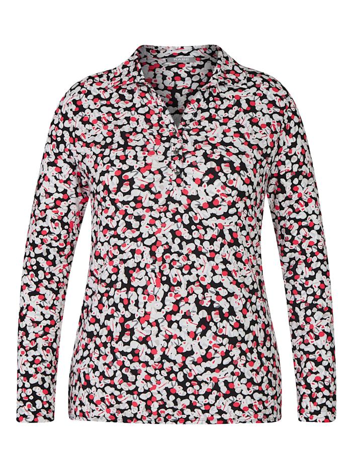 Rabe Blusenshirt mit getupftem Allover-Muster und Knöpfen, SCHWARZ