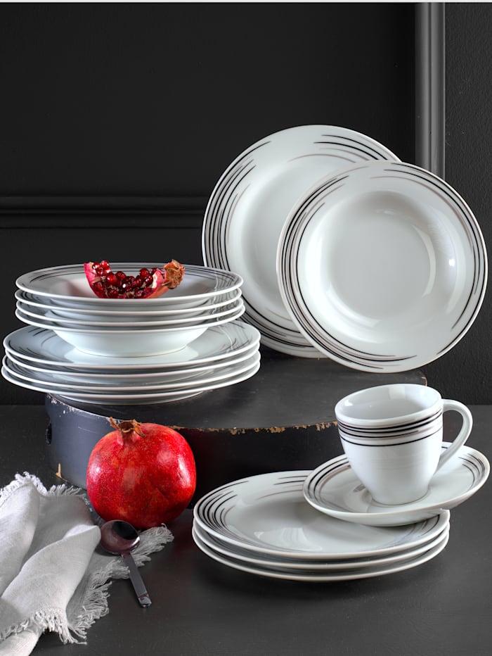 Van Well Middagsservise -Vento- i 12 deler, hvit/grå/svart