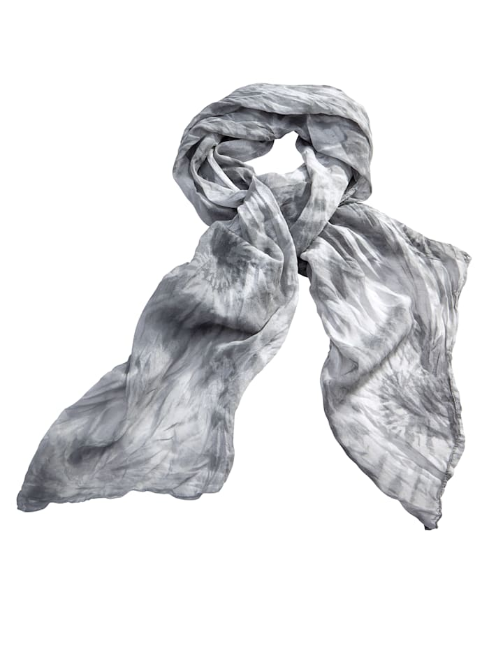 Sara Lindholm Schal aus Baumwoll-Seide Material, grau