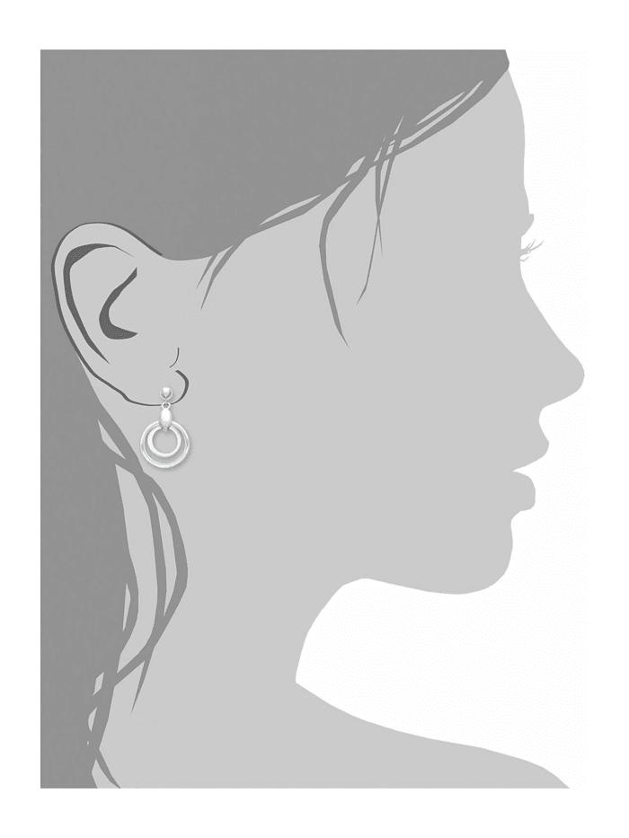 Ohrring für Damen 2,5 cm geometrisch 925 Sterling Silber teil-mattiert