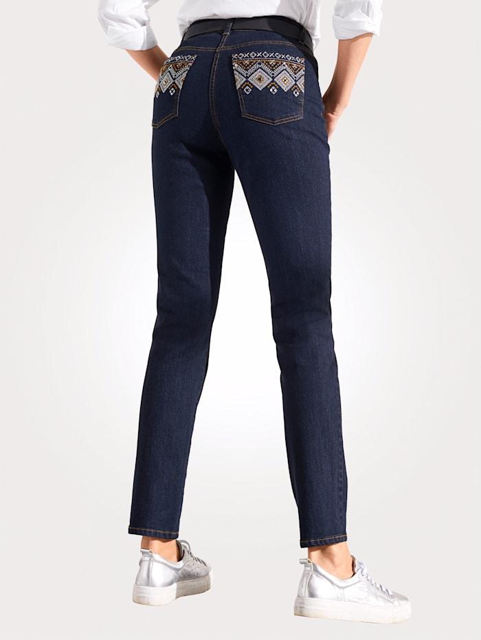 MONA Jeans mit Steppung, Glanzgarn und Pailetten, Anthrazit