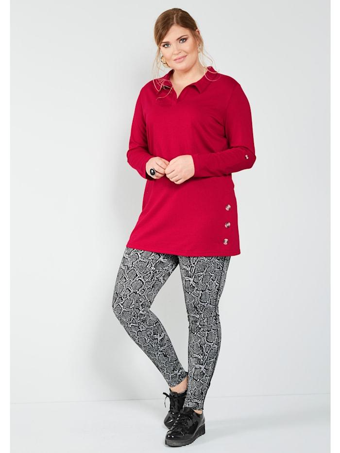 Longshirt mit seitlichen Dekoknöpfen