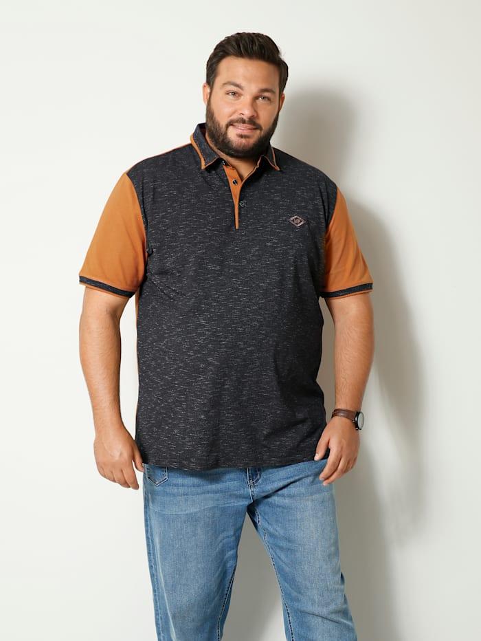Men Plus Poloshirt met gemêleerde inzet, Grijs/Camel