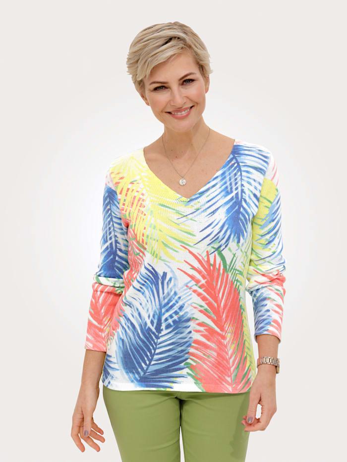 MONA Pullover mit Palmen-Druck, Ecru/Multicolor