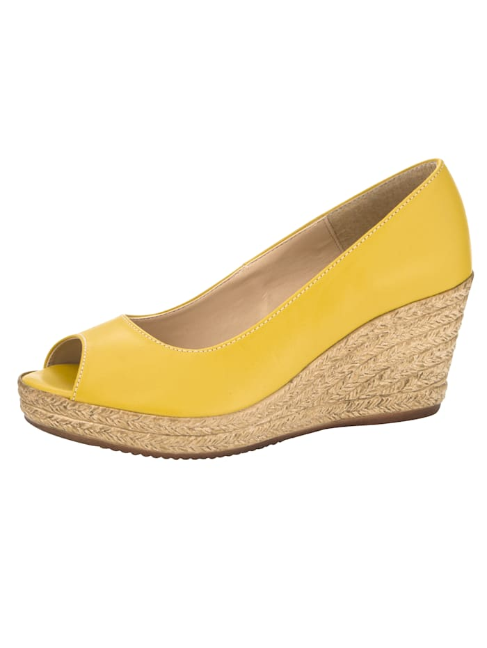 Peep toe wedges made from soft foam, Yellow