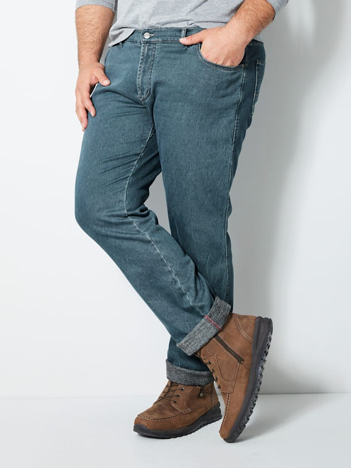 Men Plus Thermojeans in 5-pocketmodel, Blue stone