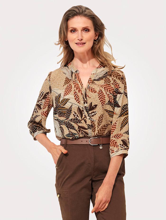 MONA Bluse mit floralem Druck, Beige/Orange/Braun