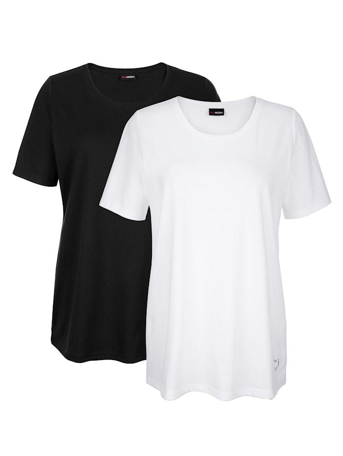 MIAMODA Shirts im 2er-Pack mit Herzmotiv aus Steinchen am Saum, Weiß/Schwarz