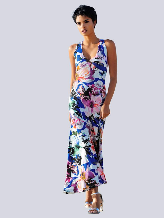 Alba Moda Strandkleid mit raffinierter Schnittführung, Blau-Pink