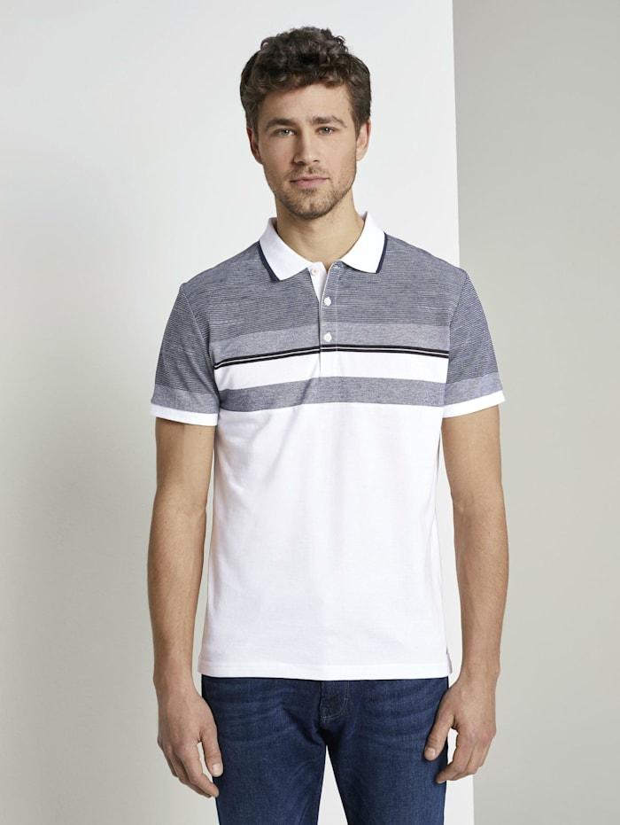 Tom Tailor Gestreiftes Poloshirt, White