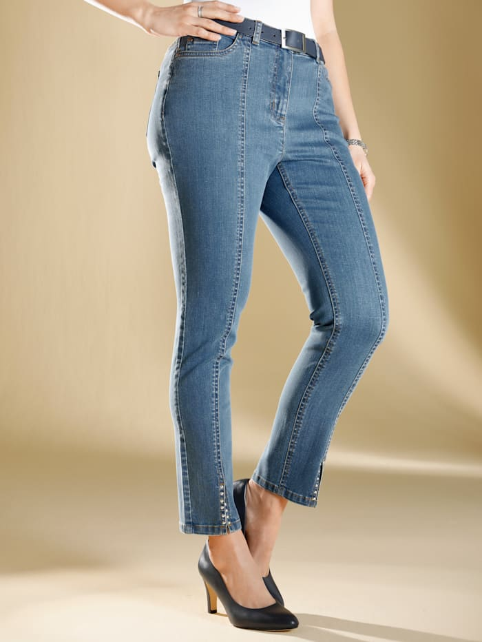 m. collection Jeans i ankellång modell, Blue bleached