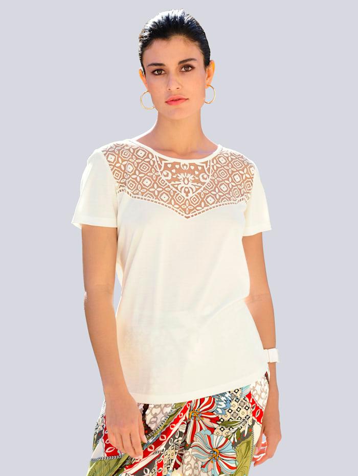 Alba Moda Shirt met ausbrennermotief, Offwhite