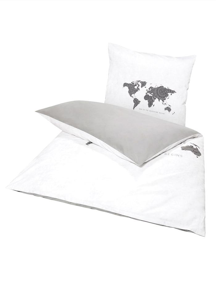 Ekkelboom Bettwäsche, weiß/grau