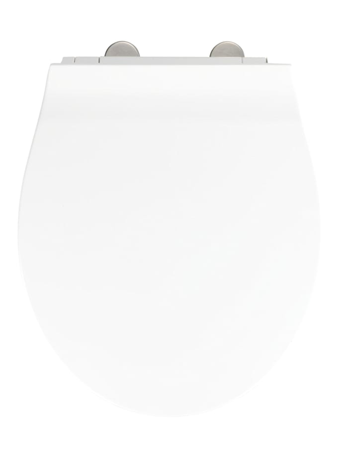 Wenko Premium WC-Sitz Orani, aus antibakteriellem Duroplast, mit Absenkautomatik, Weiß, Befestigung: Silber matt