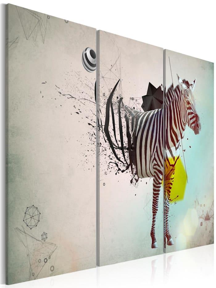 artgeist Wandbild Zebra - Abstrakt, Creme,Gelb,schwarz-weiß