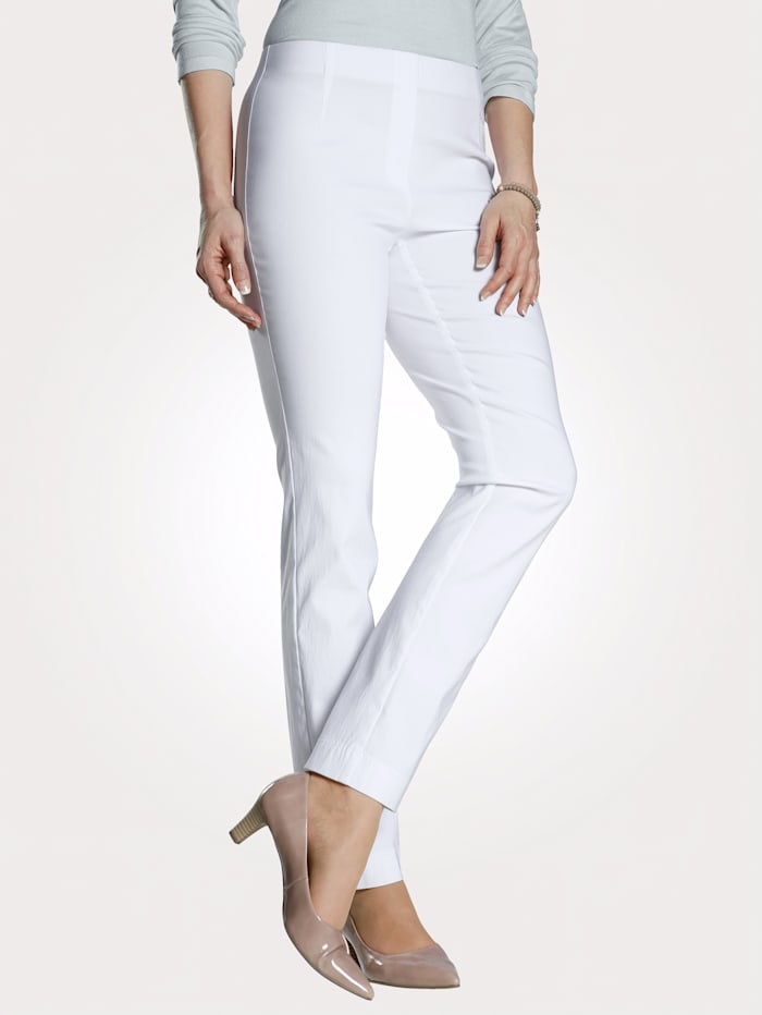 MONA Pull-on trousers made from a soft stretch fabric, White