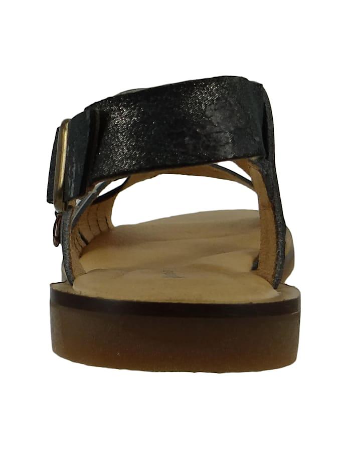 N5181 Tulip Damen Leder Sandale Vaquetilla Fantasy Carbon Schwarz