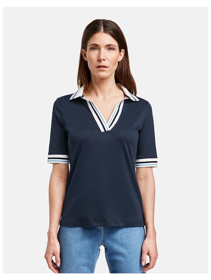 Gerry Weber Poloshirt mit Kontrastkanten, Azur