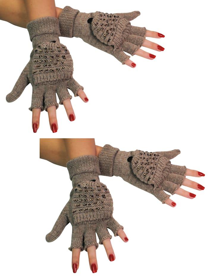 Simone Erto Handschuhe 2 Paar A3376 2 Paar Klapp-Handschuhe mit Glitzer-Steinen, hellbraun