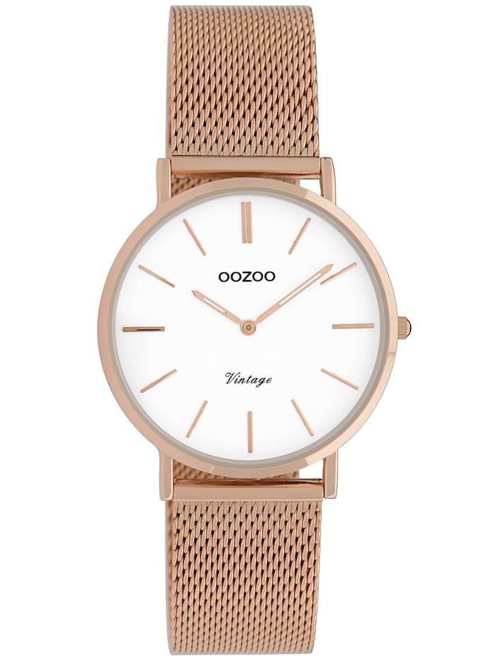 OOZOO Damenuhr Vintage Roségoldfarben/Weiß 32 mm, Weiß