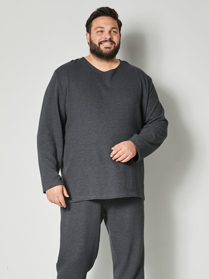 Men Plus Sweatshirt in melierter Optik, Anthrazit