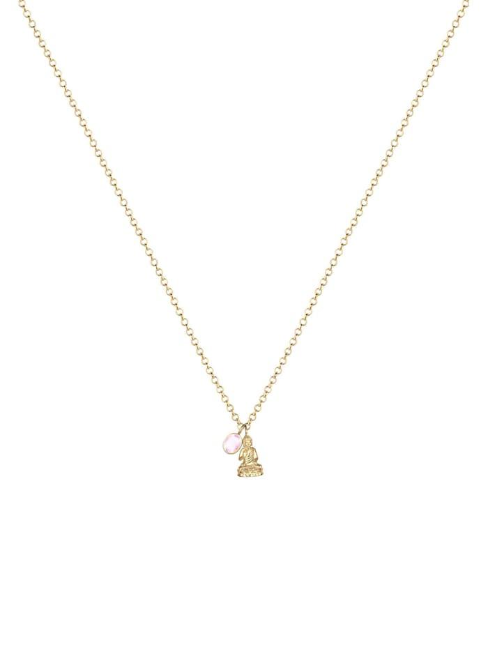 Halskette Buddha Rosenquarz Edelstein 925 Sterling Silber