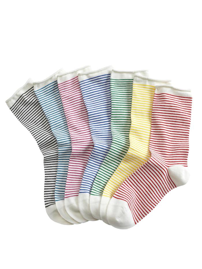 Blue Moon Damessokken per 7 paar, 1x royal blue, 1x groen, 1x pink, 1x zwart, 1x geel, 1x petrol, 1x rood