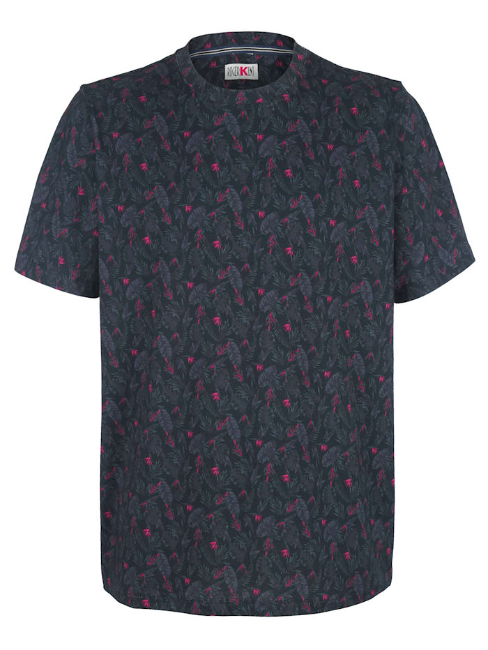Roger Kent T-shirt med bladmönster, Marinblå