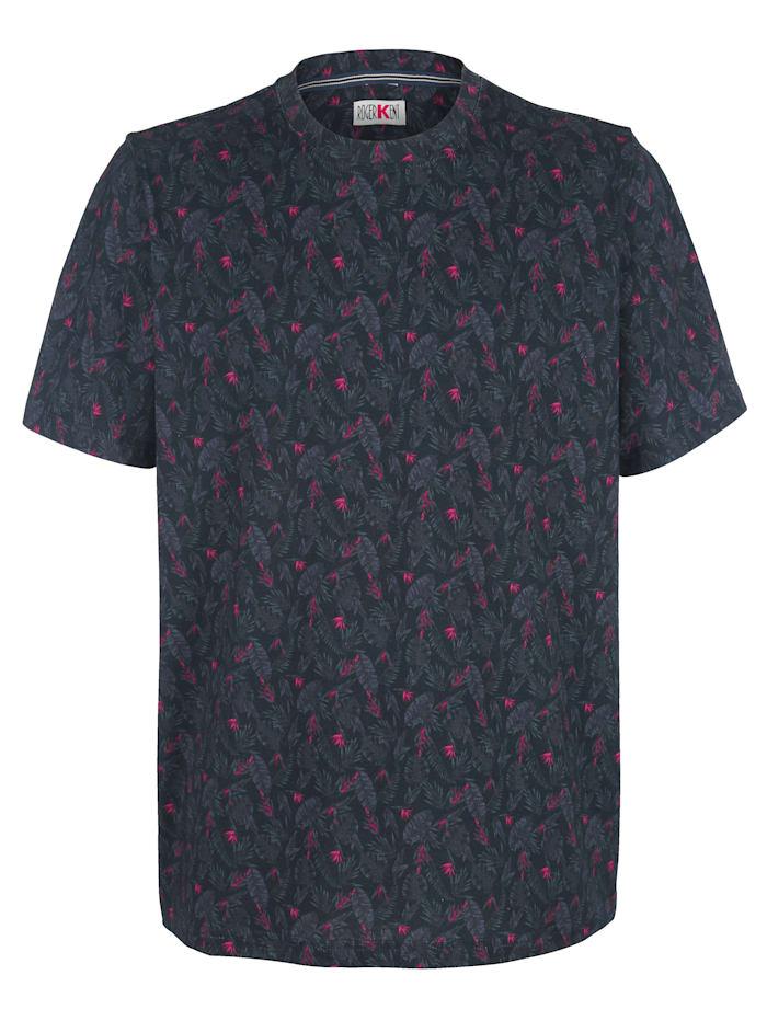 Roger Kent T-shirt met modieus bloemendessin rondom, Marine