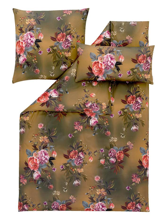 Estella Satin de Luxe Bettwäsche 'Grazia' 2tlg. + Gratis Kissenbezug 40x80 cm, Goldfarben
