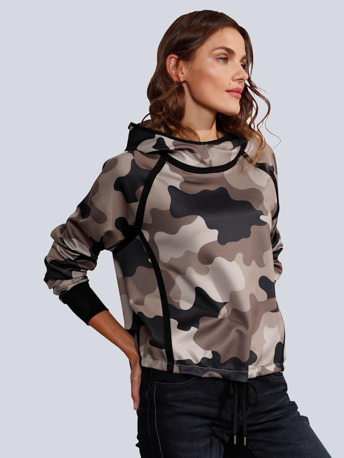MARGITTES Sweatshirt im Camouflage Druck, Braun