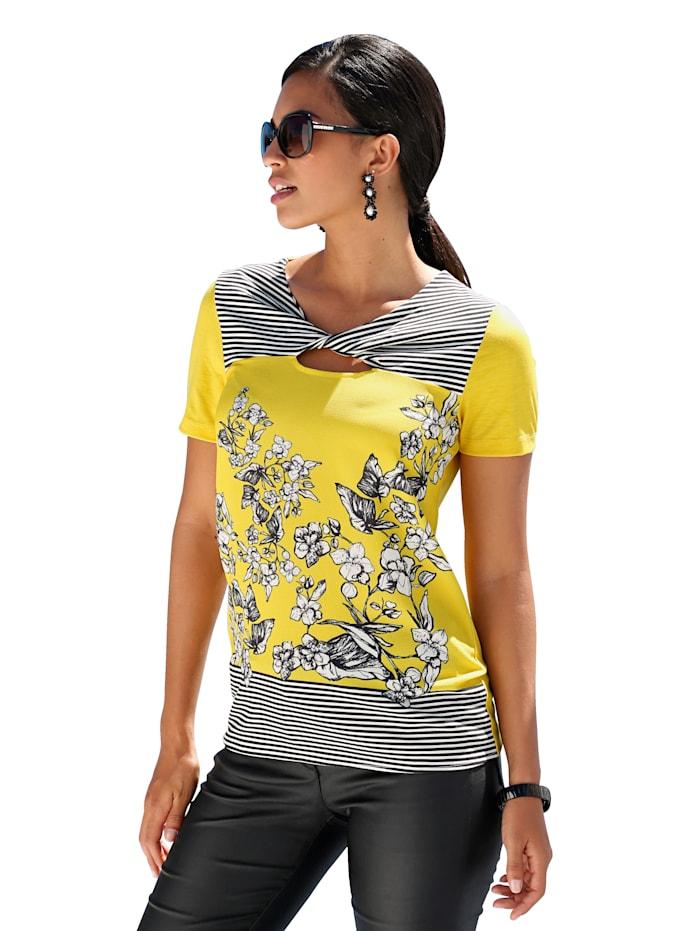 AMY VERMONT Shirt mit Strasssteindekoration und bedruckter Webware im Vorderteil, Gelb/Schwarz