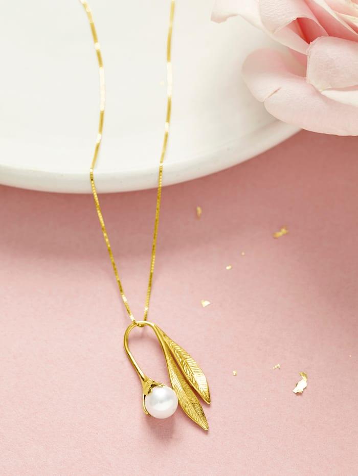 """Pendentif """"feuille"""" avec perle de culture d'eau douce"""